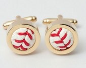 Set of 6 Authentic Baseball Cufflinks (GOLD)