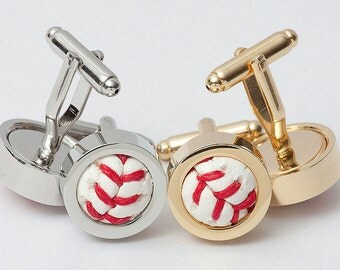 Baseball Cufflinks (In Gold or Silver)