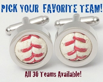 Game Used Baseball Cufflinks - ALL TEAMS AVAILABLE