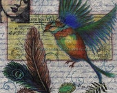 Bird Flight ORIGINAL Mixed Media 8x10 by artist Tamyra Crossley.