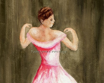 Lady in Pink ORIGINAL Watercolor by artist Tamyra Crossley. 9 X 12