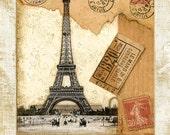 "Paris Postmark , Eiffel Tower 11""x 14"""