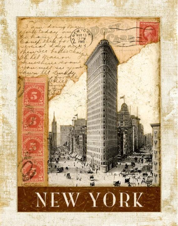 "Postmark NewYork, Flat Iron Building 11""x14"""