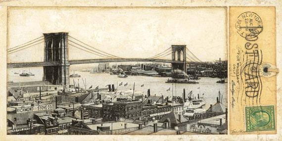 "Bridges, New York City, Brooklyn Bridge,  10""x 20"""
