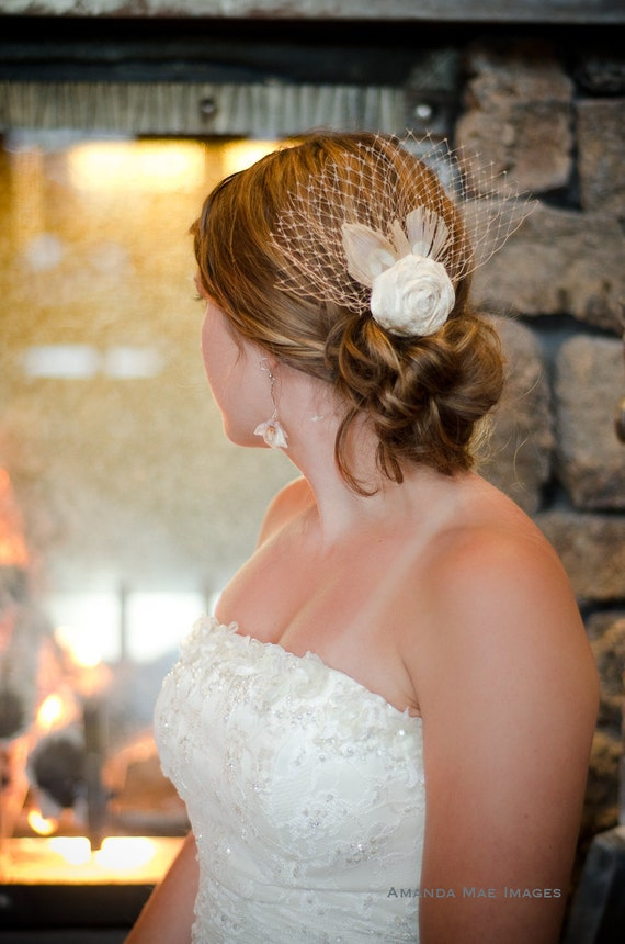 Rose- Bridal rosette, ivory peacock feathers, peach french netting hairpiece, wedding hair flower with shoe clips