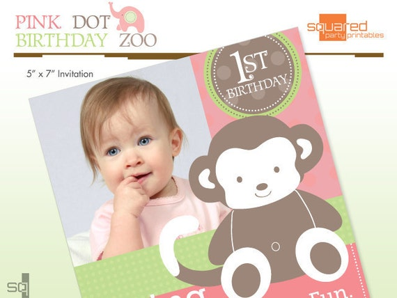 Monkey Jungle Safari Zoo Invitation - Pink Dot Birthday Zoo Party - DIY Printable - Do it Yourself Print