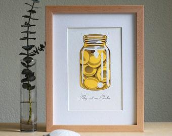 "Jar of Peaches  /  ""They Call Me Peaches""  Letterpress Art Print"