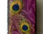 Fancy Peacock Feather Pendant.  Purple.