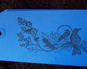 Classy Blackbird or Raven Gift or Scrapbook Tags in Blue