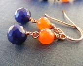 Orange Jade Sapphire and Copper Dangle Earrings:  Tangerine Sky Earrings