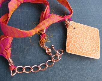 Peach and Raspberry Sorbet Necklace: Handmade Marsha Neal Ceramic Pendant with Sari Silk and Copper Chain