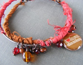 I Love Chocolate Bangles: Red and Brown Sari Silk with Charmed Penny
