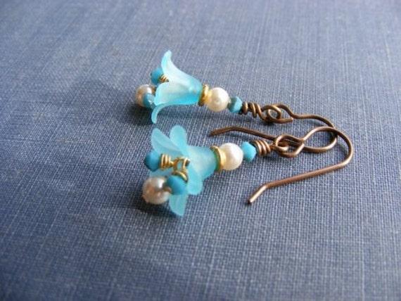 Reserved for Jen:  Summer Bluebell Earrings