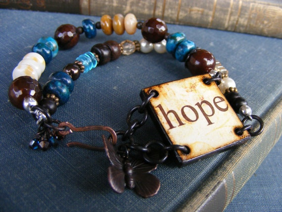 Hope Has Wings Double Strand Bracelet: Wood Tile Teal Cream Butterfly Gemstone Bracelet