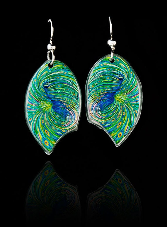 Peacock Energy Earrings by artist Julia Watkins