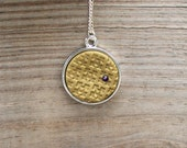 Gold Moroccan Pattern Pendant Necklace With Purple Swarovski Crystal Accent