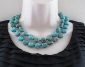 Megan Fox Double Strand Turquoise Nugget Necklace