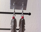 Silver feather and red coral earrings