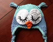Sleepy Owl hat. Tiffaney Blue and Light blue. Available in all sizes