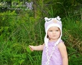 Purple and white sleepy owl hat. Available in all sizes and can do color adjustments per request