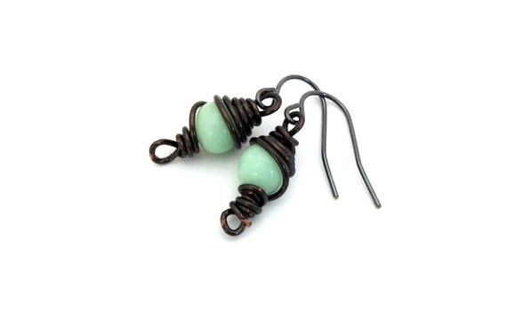 Balance & Growth - FREE SHIPPING Wire Wrapped Earrings Petite Chocolate Mint Pastel Green Peridot Round Copper Dangle Unique Gift