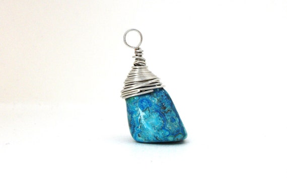 Retro-spect - FREE SHIPPING Wire Wrapped Pendant Tumbled Upcycled Vintage Antique Blue Rock Gemstone Mineral Energy Stone June July Summer