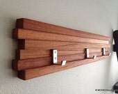 "Wood Coat Rack 3 Hook Key Hat Minimalist Modern Wall Hanging  22"" w/ 3 Hooks"