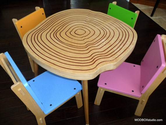 Items similar to kids table and chairs modern furniture - Tree trunk table and chairs ...