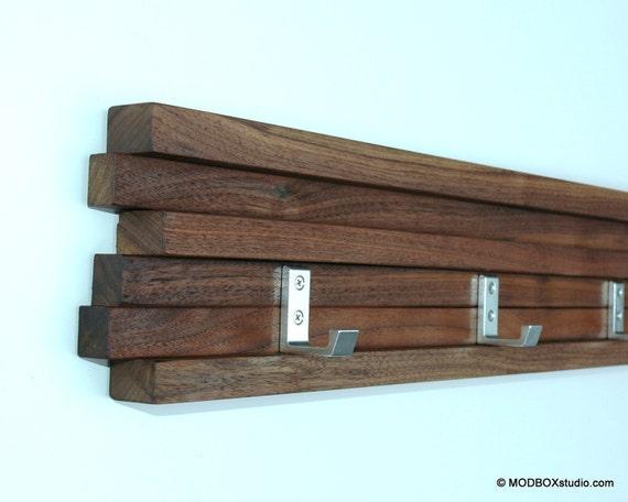 Coat Rack 5 Hook Walnut Modern Key Hat Minimalist Wall Hanging