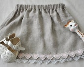 6 mo. Linen skirt with white lace and pink heart trim