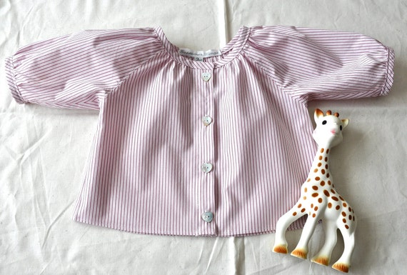Baby girl pinstripe peasant blouse  3 months size