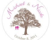 Love Birds on a Tree Personalized Address Labels, Wedding Favor Stickers, Envelope Seals