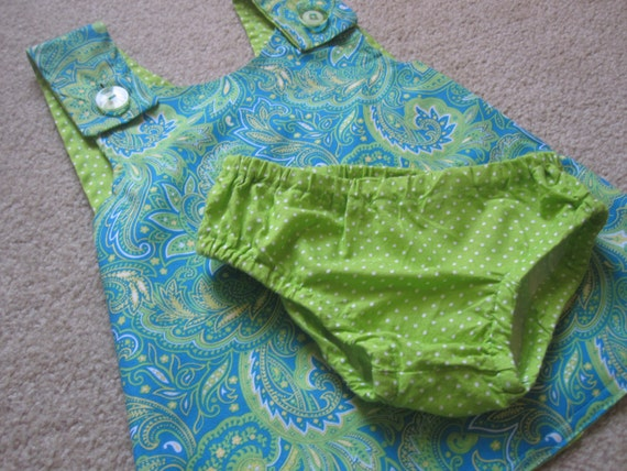 SALE Blue and Green Paisley Pinafore Dress  - Crossover Pinafore Dress - Baby Pinafore - Dress With Diaper Cover
