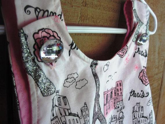 Ooh-La-La Pink Paris Baby Pinafore Dress - Crossover Pinafore Dress - Baby Pinafore