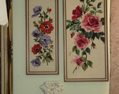 Two Vintage Framed Floral Needlepoint Wall Hangings