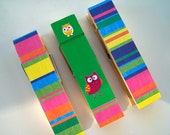JUMBO Clothespins-Set of 3-Magnets included-Happy Owls