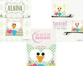 Nursery print, customized owl art (Pippa)