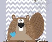 Kids Art Woodland.  Beaver on Chevron background