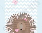 Children room decor Woodland art.  Porcupine on Chevron background