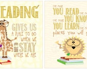 """Read children's room print - Series of TWO """"reading"""" prints"""