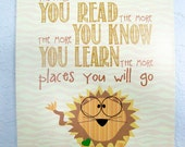 Read children's room print -Lion, safari series
