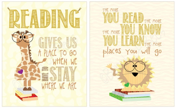 "Read children's room print - Series of TWO ""reading"" prints"