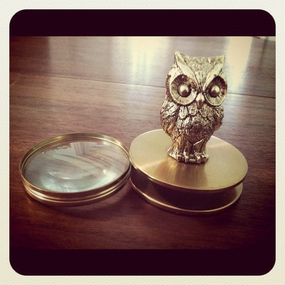 Rare Vintage Gold Owl Magnifying Glass and Paperweight