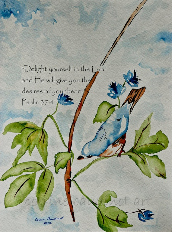 Watercolor painting of blue bird and verse 8.5x11