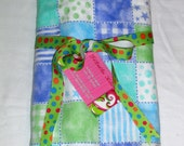 Baby Blanket - Blue and Green Quilt-print Baby Flannel Blanket