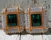 Vintage Ornate Jeweled Clip On Earrings