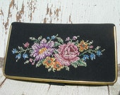 Antique Floral Petit Point Sewing Case & Kit