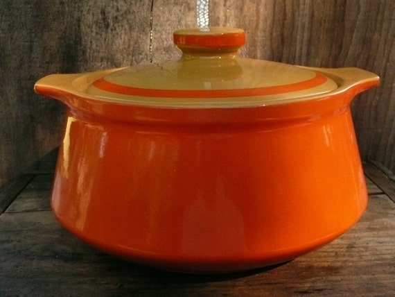 Ovenware Dish Covered Vintage Two Toned Orange And Ochre