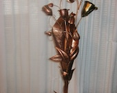 Hammered Copper Rose Bouquet in a Copper Vase
