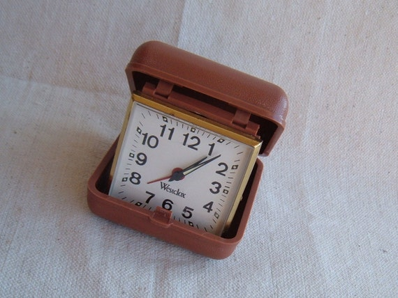 Vintage Westclox wind up traveling alarm clock Mid Mod Era Mad Men Style